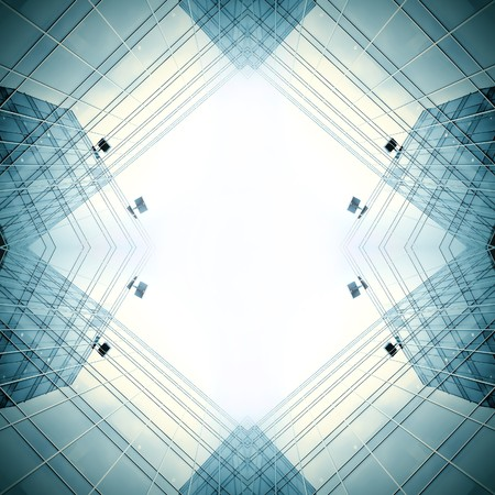 vanish: blue modern business buildings Stock Photo