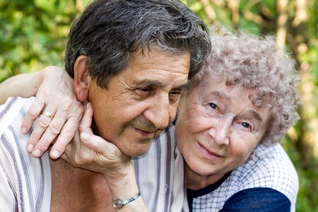 actual gladness of elderly people hugging Stock Photo - 7426337
