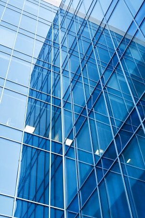 vista de perspectiva de rascacielos de cristal moderna  Foto de archivo
