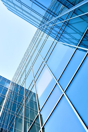 modern glass skyscraper perspective view Stock Photo - 7425722