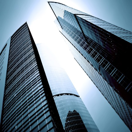 megapolis: modern glass business skyscrapers at night Stock Photo