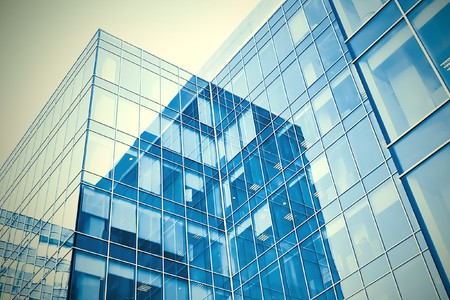 blue modern business buildings photo