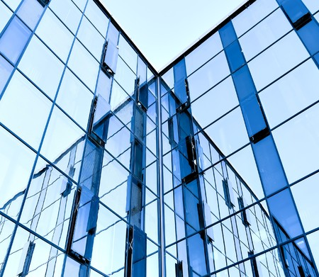 abstract glass wall of business building photo