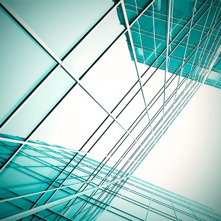 modern green glass skyscraper perspective view Stock Photo - 7891597