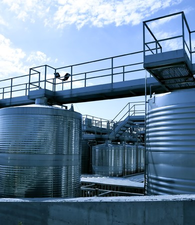 reservoirs: Stainless steel reservoirs for wine Stock Photo