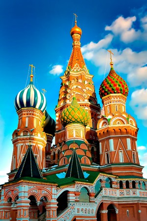 St. Basils Cathedral on Red square, Moscow, Russia photo