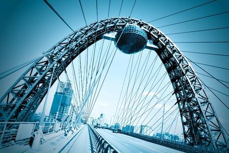 Vivid red suspension bridge Stock Photo - 7891707