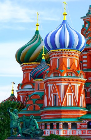 blessed trinity: St. Basils Cathedral on Red square, Moscow, Russia Stock Photo