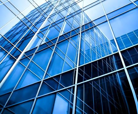 building glass: modern blue glass wall of skyscraper Stock Photo