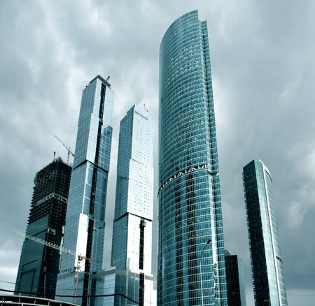 glass skyscrapers in gale Stock Photo