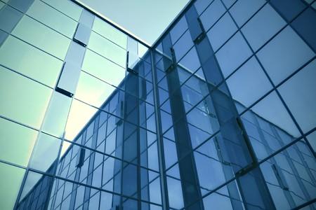 moderne blauem Glas Wolkenkratzer perspektivische Ansicht