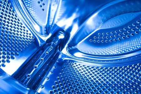 blue washing machine drum photo