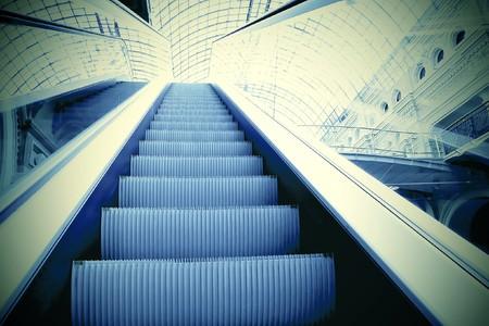 blur subway: Moving escalator in office center
