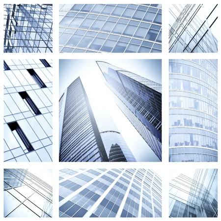 property insurance: collage contempor�neo de edificios de arquitectura de cristal azul