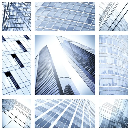 contemporary collage of blue glass architectural buildings