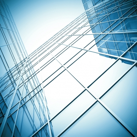 glass building: block with real estate of glass skyscraper perspective view Stock Photo