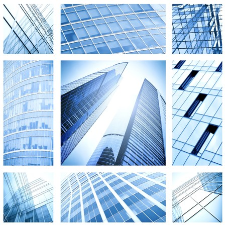 contemporary collage of blue glass architectural buildings photo