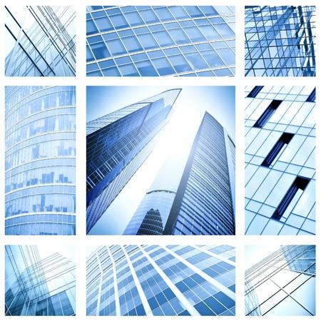 zeitgenössische Collage aus blauem Glas architektonischen Gebäude
