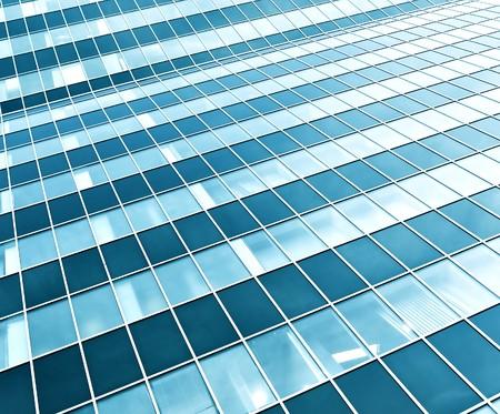 comercial: vista de perspectiva de rascacielos de cristal verde moderno  Foto de archivo