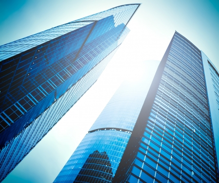 fachada del edificio de gran altura enormes rascacielos