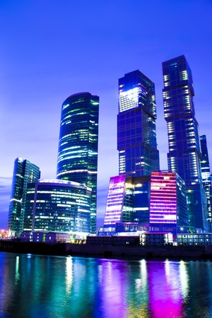 night city of business skyscrapers in vibrant colors photo