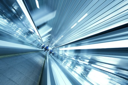Concept of time fading like as moving escalator photo