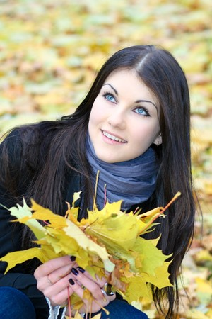 portrait of the beauty girl in park photo