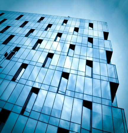dark texture of glass building at night Stock Photo