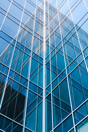 charting: contemporary blue glass architectural buildings Stock Photo