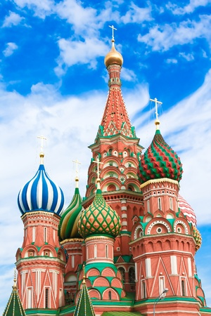 Domes of the famous Head of St. Basil's Cathedral on Red square, Moscow, Russia Stock Photo - 8826981
