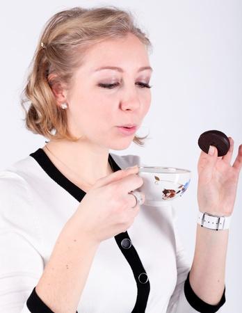 Beautiful lady drinking coffee photo