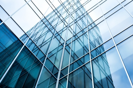property management: transparent glass wall of office building