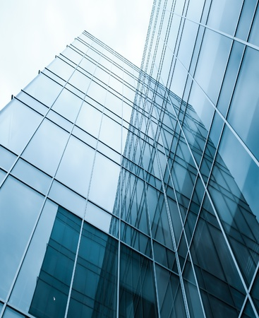 real business: block with real estate of glass skyscraper perspective view Stock Photo