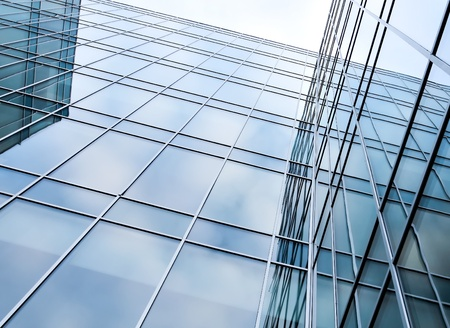 glass surface of contemporary angle of business building photo