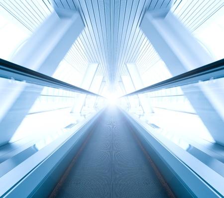 wide angle of moving symmetric escalator inside contemporary airport