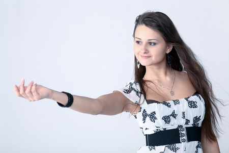 beckon: attractive girl inviting to come nearer