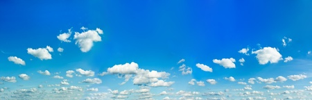 sparse: panoramic view of beautiful blue-sky and sparse white clouds