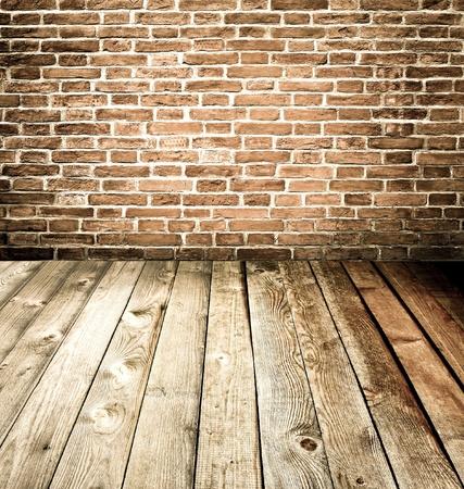 abstract brick wall and wood floor photo