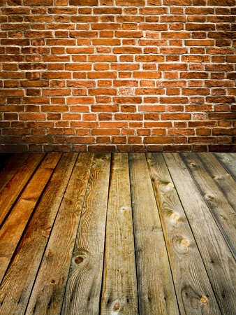 abstract brick wall and wood floor Stock Photo - 9351965