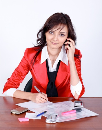 attractive businesswoman talking by phone Stock Photo - 9351935
