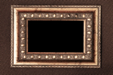 vintage metal frame over fabric texture Stock Photo - 9351952