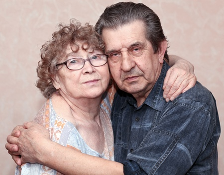 actual gladness of elderly people hugging Stock Photo - 9352290