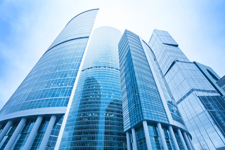 construction management: futuristic structure of office skyscrapers in the morning, wide angle view