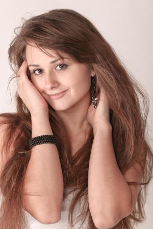 Sensual young woman with beautiful long brown hairs Stock Photo - 9536326