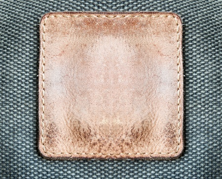 Square brown leather label photo