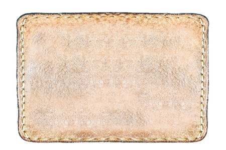 rectangular brown leather label isolated over white photo