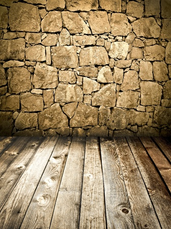 brickwall: stone wall and wooden floor Stock Photo