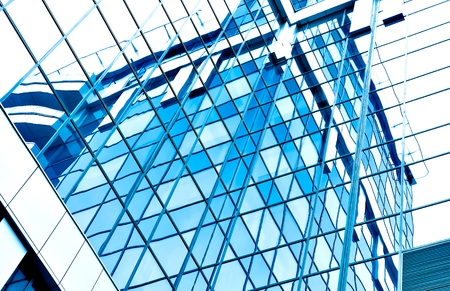 blue glass transparent wall photo