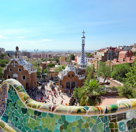 BARCELONA, SPAIN - JULY 25: The famous Park Guell on July 25, 2011 in Barcelona, Spain. Park Guell is the famous park designed by Antoni Gaudi and built in the years 1900 to 1914 Editorial