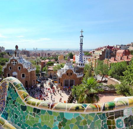 Barcelona, ??Spanien - 25. Juli: Der berühmte Park Güell auf 25. Juli 2011 in Barcelona, ??Spanien. Park Güell ist der berühmte Park von Antoni Gaudi entworfen und gebaut in den Jahren 1900 bis 1914